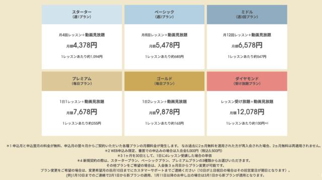 公式ページの料金表一覧