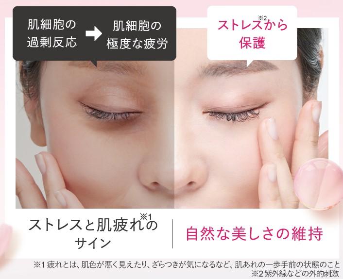 ストレス肌とストレスから保護された肌の見え方の違い