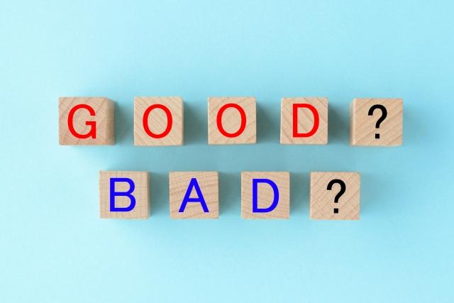 GOOD・BADと書かれた木のブロックが並べられている