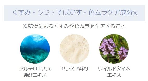 sirocosカラーグローファンデーションのくすみ・シミ・そばかす・色ムラケア成分のアルテロモナス発酵エキス、セラミド酵母、ワイルドタイムエキス